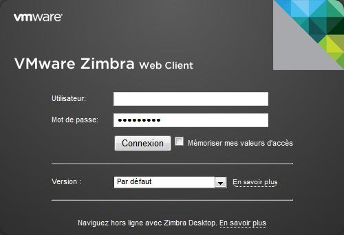 Connexion au client Web Zimbra